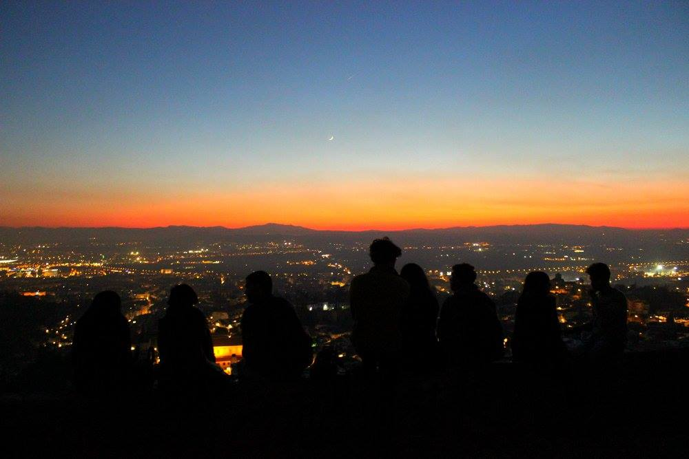 best sunset i've ever seen, from the Sacramonte Hill, with the skies fully red, during my night adventure tour in Granada
