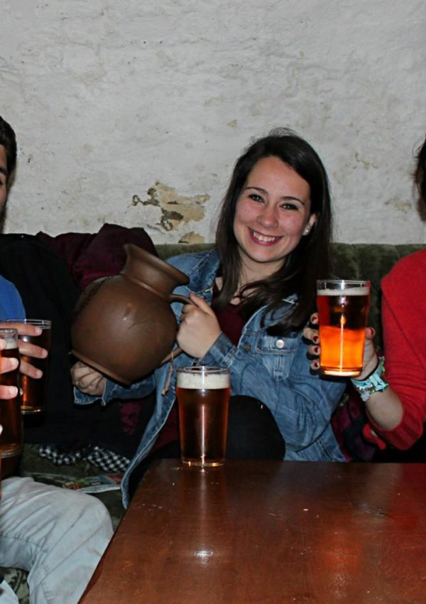 birthday girl celebrating her 23rd birthday in a bar in riga latvia