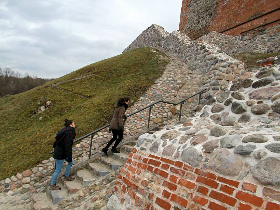 Girls climbing the Gediminas Castle Tower in Vilnius lithuania