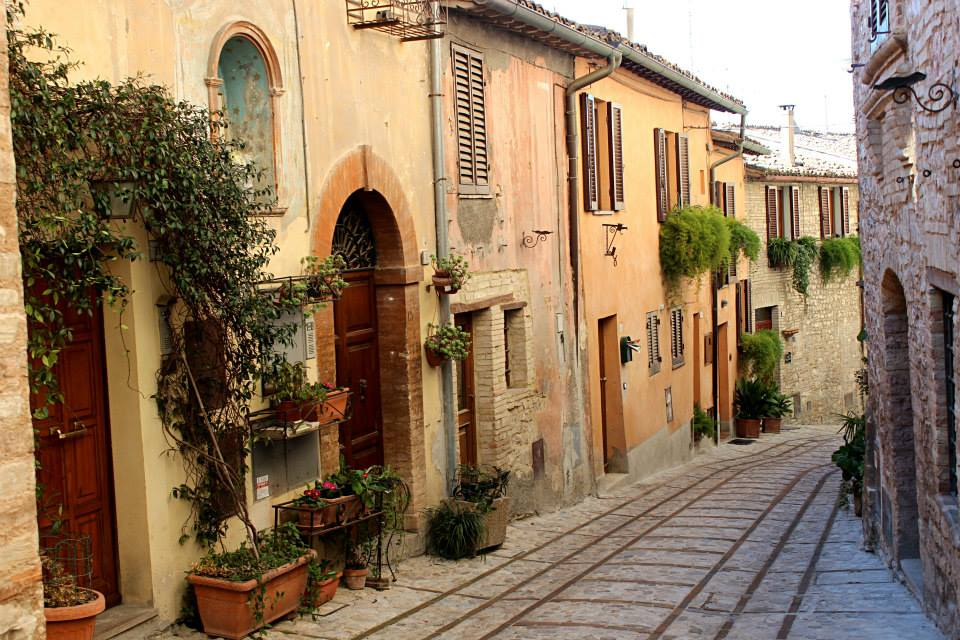 typical italian street in the town of spello